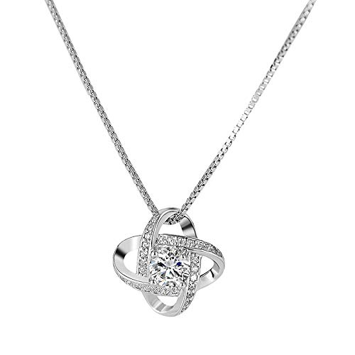 QCYISI Damen 925er Sterlingsilber voller Diamant vierblättriges Kleeblatt Halskette, Silberne geometrische kleine Glücksanhänger, schlankes minimalistisches Design