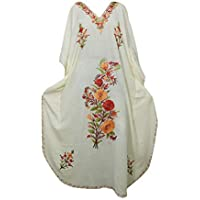 Mogul Interior Women Kaftan Maxi Dress Embroidered White Kimono Caftan OneSize