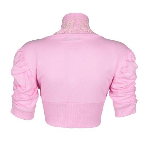 Embelished Ethin da donna con perline, motivo Bolero Shrug-Pantaloncini da donna con maniche arricciate Cardigan Top 8-14 Rosa