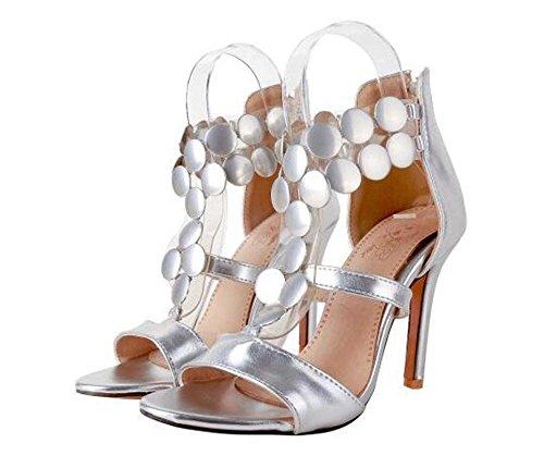 Beauqueen Pumps Open-Toe T-Strap Stiletto High Heel Sommer Reißverschluss Sandalen Büros Casual Customized Europa Größe 32-46 Silver