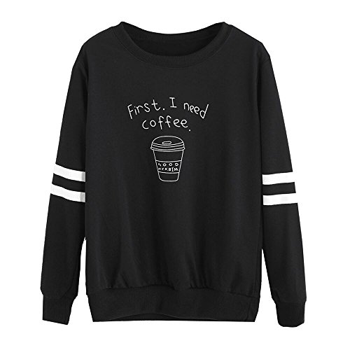 BZLine - Femme Sweat-shirt First, I Need a Coffee - en Coton Mélangé - Manche Longue Noir