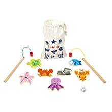 Small Foot 11366 Catching Fish Wooden Travel Game, FSC 100%-Certified Toys, Multicolored