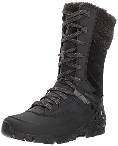 Merrell Women Aurora Tall Ice+ Waterproof High Rise Hiking Shoes, Black (Black),...