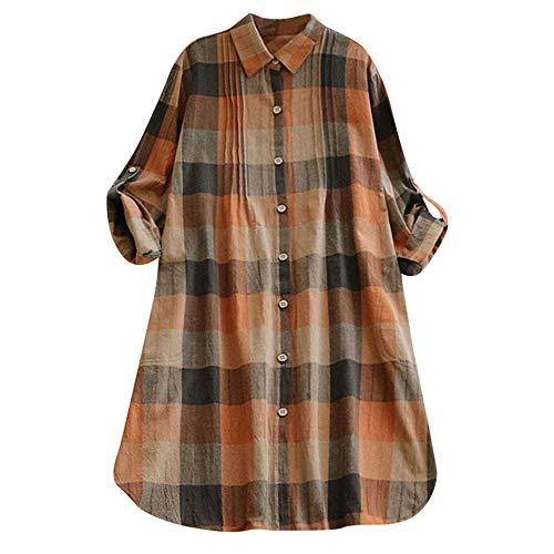 MCYs Damen Retro Plaid Langarm lässig Knopf langes Kleid Mini Shirt Kleid Hemd Tunika Kleid Partykleid Hemdkleid Tops Strandkleid