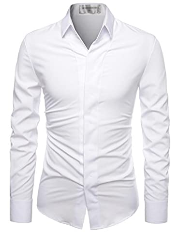 Nearkin (NKNKS650) Mens Stretchy Hidden Button Wrinkle Free Dress Shirts WHITE UK L(Tag size L)