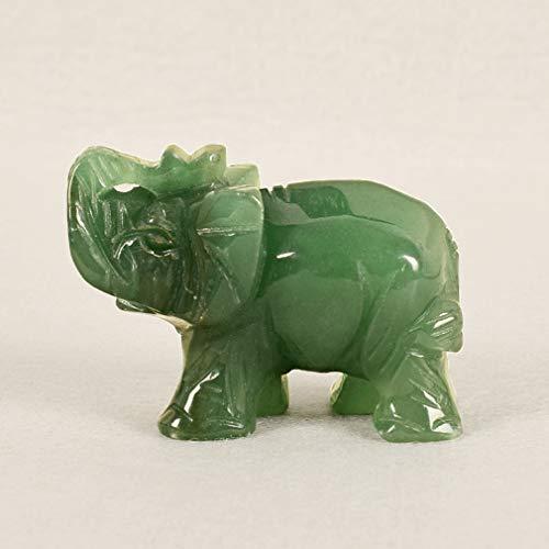 Yinew Natürlichen Grünen Aventurin Elephant Carved Healing Guardian Statue Figurine Wohnkultur Geschenk Dekoration Handwerk - Natürlichen Grünen