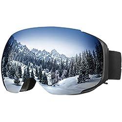 ENKEEO - UV400 Lunettes de Ski, 100% Protection Snowboard (détachable lentille antibrouillard Double Couche, Cadre Pliable, Sangle antidérapante, Mousse Antidérapante à 3 Couches)
