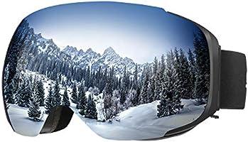 ENKEEO Gafas de Esquí Snowboard VLT 16.87% Lente Anti-Niebla de Dual Capa, 100% UV400 protección, Marco doblable con...
