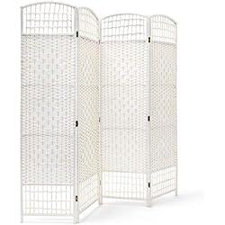 Relaxdays Paravent 4 panneaux bambou pliable protège de la lumière séparateur pièce pliant cloison mur HLP 179 x 180 x 2 cm, blanc
