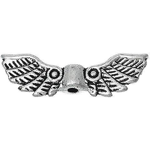 21892 / 10 Ala Tapas de abalorios espaciadores 22x7mm para la Artesanía angel z.B. como Ángel de la guarda