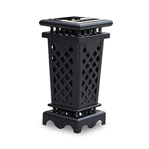 DEI QI Eisen Outdoor Mülleimer Retro Black Hollow Texture Design Gartenmöbel Mülleimer Mülleimer Recyclingbehälter Garten Mülleimer (Farbe : D) - 85-kuchen-deckel