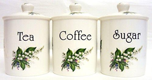 Lily of the Valley Lot de 3 boîtes à thé/café/sucre en porcelaine Motif fleurs Lys de boîtes de rangement décorés à la main U. K.-gratuite