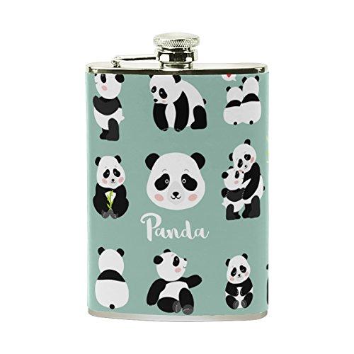 jeansame Personalisierte Hip Drink Fläschchen 8Oz aus Edelstahl für Damen Herren Pandas Süße Tier Emoji