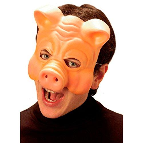 Schwein Halbmaske Schweinemaske hautfarbend Schwein Maske Schweinsmaske Tiermaske Kostüm Zubehör (Kunststoff Schwein Maske)