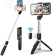 Selfie Stick Tripod, All in One 40 Inch Extendable Phone Tripod with Detachable Wireless Bluetooth Remote Adju