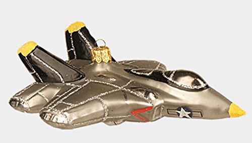 Army Aircraft Fighter Plane Polish Glass Christmas Ornament Military Decoration -