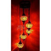 Turque Marocain Style Tiffany Mosaïque De Verre Chandelier 5 Ampoule - OR11 X 5 Chandelier
