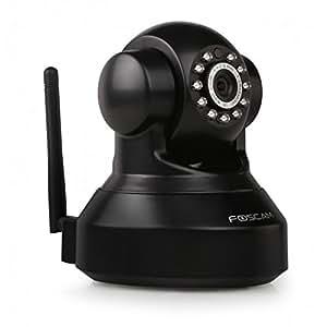 Foscam FI9816P/B Telecamera IP Motorizzata di Sorveglianza Cloud Wireless, HD 720p, Visore Notturno, 70º, Slot Micro SD, Rilevatore Movimenti, Nero