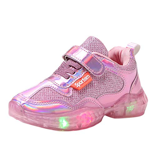 Alwayswin Unisex-Kinder Sneaker Jungen Mädchen Mode LED Luminous Turnschuhe Sport Run Sportschuhe Freizeitschuhe Bequem rutschfest Klettverschluss Kinderschuhe Brief Einfarbig