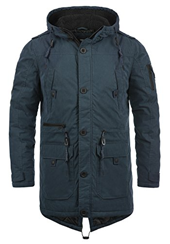 !Solid Davido Herren Winter Jacke Parka Mantel Lange Winterjacke gefüttert mit Kapuze, Größe:M, Farbe:Insignia Blue (1991)