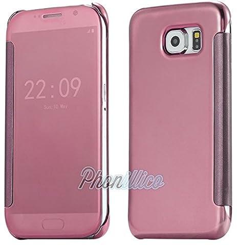 Phonillico® Coque Flip Clear View Rose Samsung Galaxy J7 2016 - Coque Housse Etui Case Protection Rabat Fenetre Window Cover View Miroir Ultra Slim
