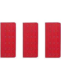 Astuce accessoire lingerie femme 1 lot de 3 rallonges soutien gorge 6 crochets - Rouge