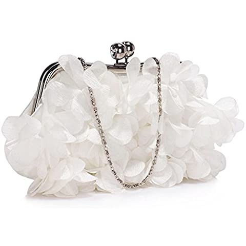 Ladies Diamante Evening Bags Small Size Women's Fashion Quality Clutch Crystal Frame Satin Designer Handbag Wedding Bridal Festival CWE00101 CWE00287 (CWE00327-Ivory