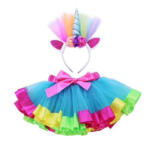 iEFiEL Regenbogen TüTü Kinder Rainbow Rock für Kleinkind Mädchen Ballett Kostüm Fotos mit Einhorn Blume Stirnband für Karneval Fasching Cosplay Lake Blau & Bunt 92-98 (Kleinkind Rainbow Kostüme)