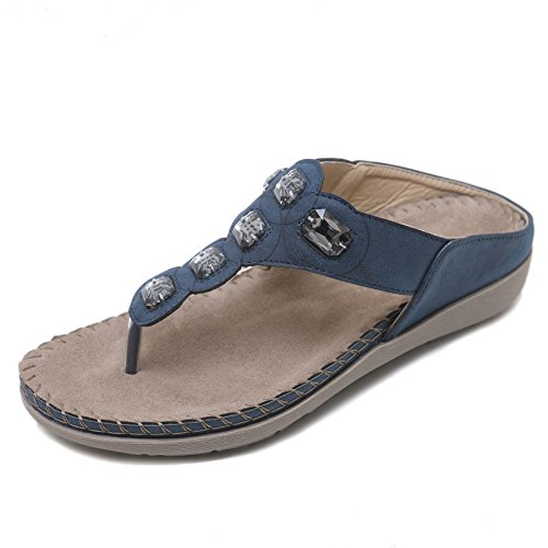 APTRO Damen Sandalen Hauseschuhe Pantoletten Strand Outdoor Schuhe 2081-7 Blau 39 EU - Strand Sandalen Flip Flops Thongs