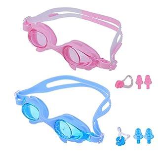 LIOOBO 2 Stücke Kinder Schwimmbrille Kinder Silikonrahmen Brille Verstellbare Träger HD Wasserdichte Antifogging Pool Strand (Hellblau, Rosa)