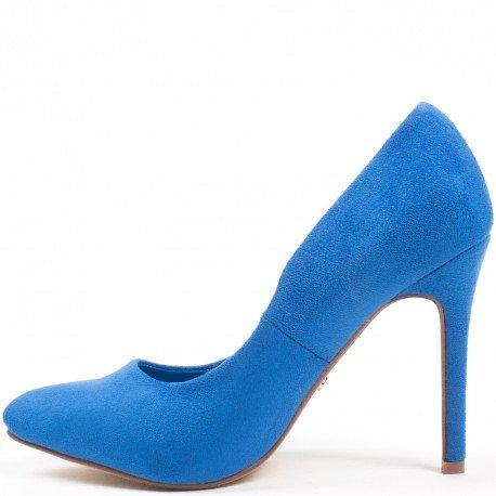 Ideal Shoes - Escarpins effet daim Kara Bleu