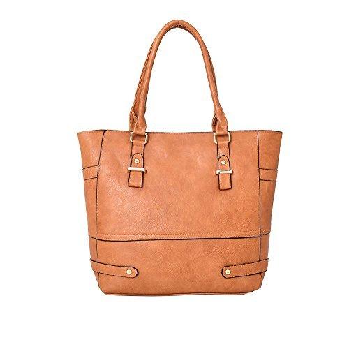 Haute For Diva S New Ladies Dettaglio Striscia In Pelle Dettaglio Borsa A Spalla Grande Shopper Borsa - Nero, Giallo Grande