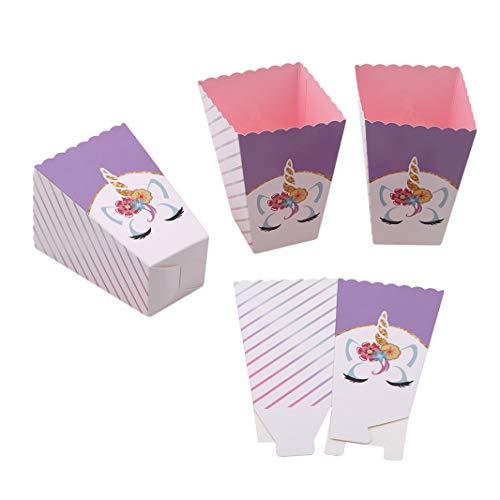 Sperrins 12 Teile/satz Einhorn Popcorn Boxen Container Füllung Mit Süßigkeiten Cookie Snacks Kleine Spielzeug Partei Liefert EinhornThemed Geburtstagsfeiern Dekorationen (lila)