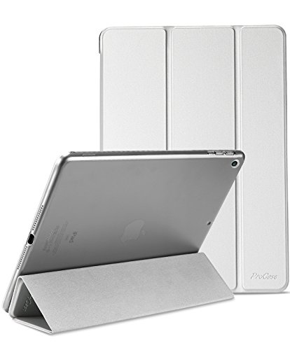 ProCase iPad 9.7 Hülle 2018 iPad 6 Generation /2017 iPad 5 Generation Tasche - Äußerst Schlank Leichtgewicht Ständer mit Transluzent Matt Rückseite Intelligente Hülle für Apple iPad 9.7 Zoll -Silber