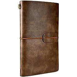 Carnet de notes rechargeable, Notebook A6, Journal intime adulte, Ryamll Carnet Rétro de Voyage Cahier de Voyage Diary Design Vintage PU Leather, 18 emplacements de carte, 4.72 X 7.87inch, Café blanc