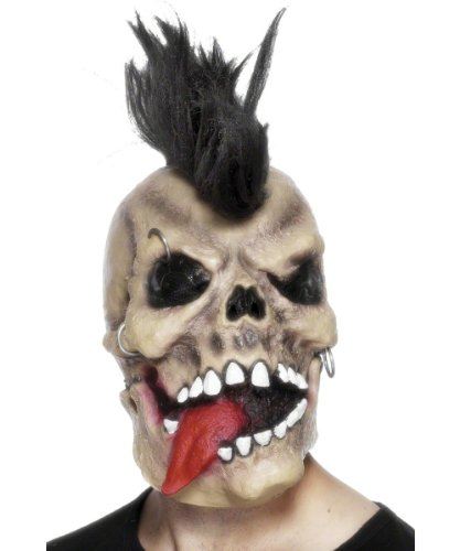Smiffys 26607 - Punk Skull Rocker Maske Beige Kopf Latex (Night-halloween-kostüme Fun Super)
