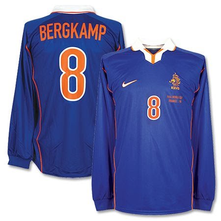 Nike 98-99 Holland Away L/S Trikot + Bergkamp 8 + Frankreich 98 World Cup Stickerei, Herren, blau, X-Large -
