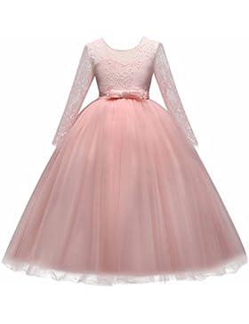 Vestido de niña de flores para la boda Princesa Vestidos de Dama De Honor Largo Manga Fiesta Tul Bowknot Comunión...