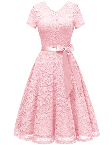 Bridesmay Damen 50S Retro Spitzenkleid Kurzarm Elegant Cocktail Abendkleid Pink 2XL