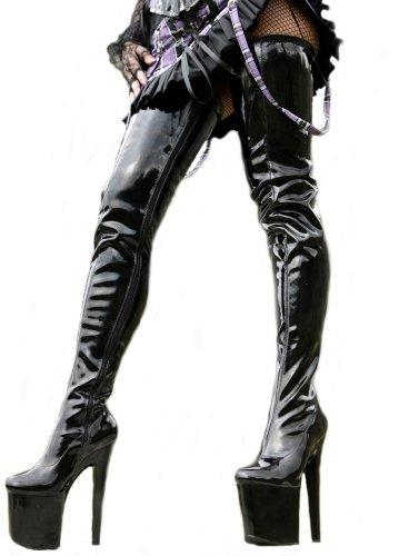 Erogance Plate-forme, Talon Haut, En Noir Brillant, Au-dessus Du Genou Jusqu'à L'entrejambe, Bottes Pour Femmes Eu 36-43 Noir