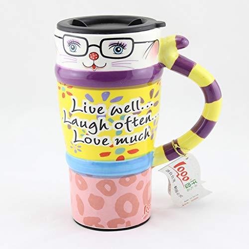 CJH Couple créatif tasse chat peint tasse animal mignon tasse avec couvercle avec cuillère tasse de café en céramique aimer