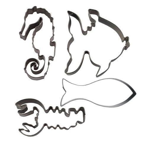 Städter 023871 Ausstecher-Set Meerestiere (Fisch, Königsfisch, Hummer, Seepferd), 4-teilig, Edelstahl, rostfrei