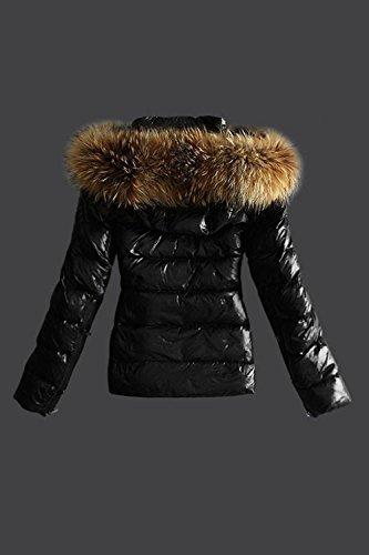 Le Donne Inverno Casual Incappucciato La Cerniera Di Finto Pelo Imbottiti Semplice Puffer Cappotto Indumenti Esterni Black