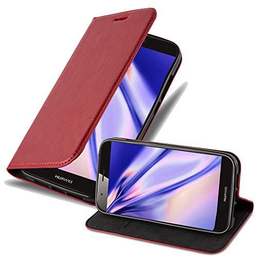 Cadorabo Hülle für Huawei G7 Plus / G8 / GX8 - Hülle in Apfel ROT - Handyhülle mit Magnetverschluss, Standfunktion und Kartenfach - Case Cover Schutzhülle Etui Tasche Book Klapp Style