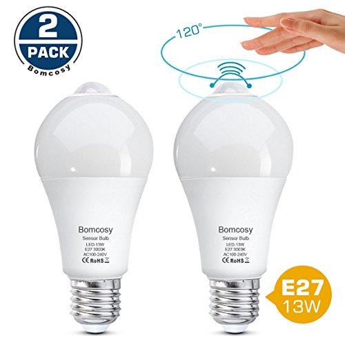 Bomcosy Lampadina LED E27 Sensore di Movimento a Infrarossi 13W Bianco Caldo 3000K Equivalente a100Watt Accensione e Spegnimento Automatico per Corridoio Portico Garage 2 Pezzis
