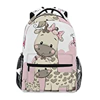 Cute Backpack Cartoon Cute Giraffes Mothers and Child Casual Daypack Rucksack School Bags for Student Girls Boys