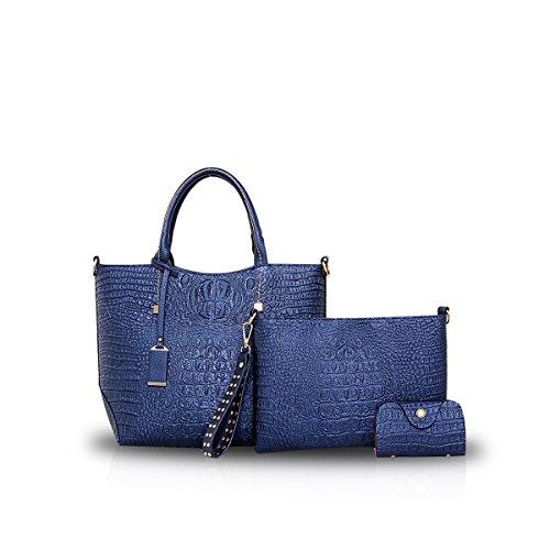 NICOLE&DORIS Frauen Crossbody Tote Handtasche Tasche 3PCS Krokodil PU Blau