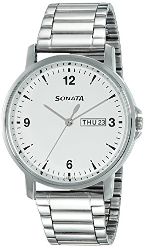 Sonata Essentials Analog White Dial Men's Watch-77083SM01
