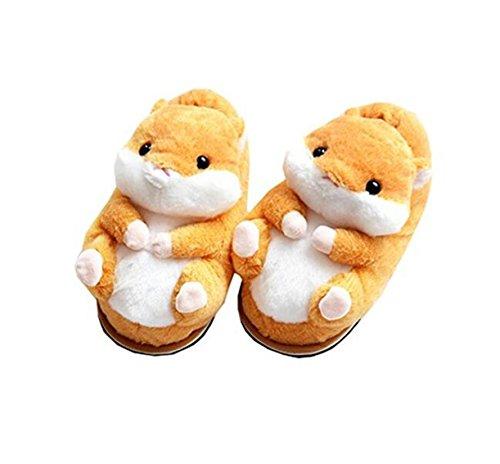 Pantoufles animaux pantoufles de hamster hiver maison chaudes pantoufles en coton antidérapant Orange