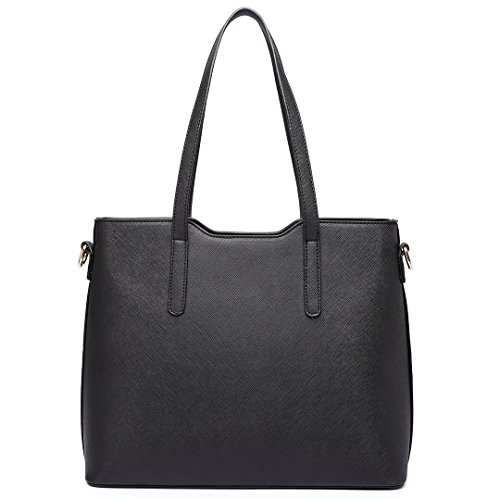 Miss LuLu Damen Handtaschenset Leder Schultertasche Shopper Hobo Totes Umhängetaschen Beuteltote Set LT6648-Schwarz